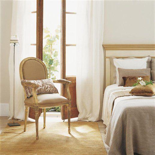 Spanish-French bedroom in warm natural hues; via El Mueble
