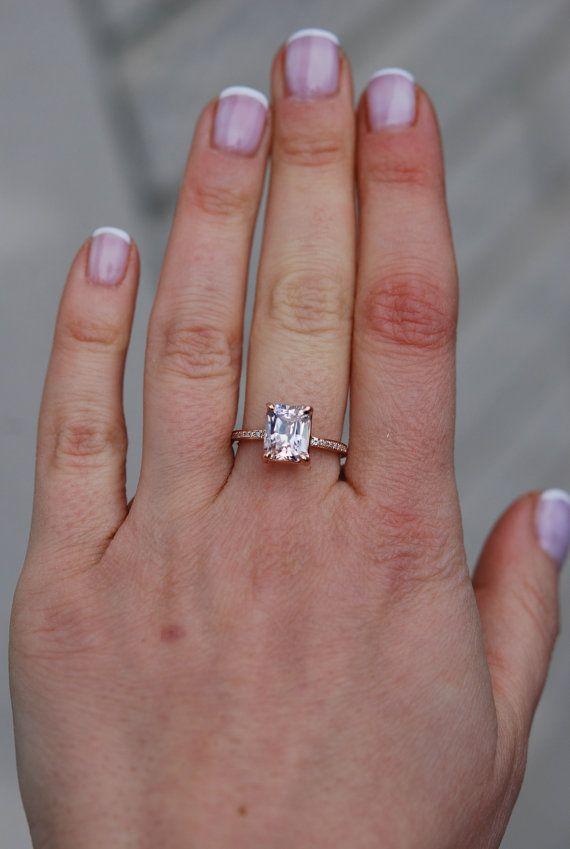 Blake lively ring peach sapphire engagement ring emerald cut 14k blake lively ring peach sapphire engagement ring emerald cut 14k rose gold diamond ring 32ct peach champagne sapphire engagement ring junglespirit Choice Image