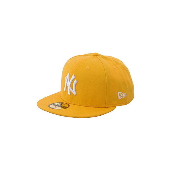 3121f339 NEWERA NY Yankees Logo Fitted Cap yellow/white ❤ liked on Polyvore ...