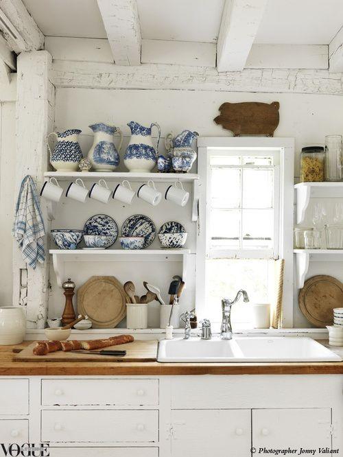 Rustic Blue & white kitchen .