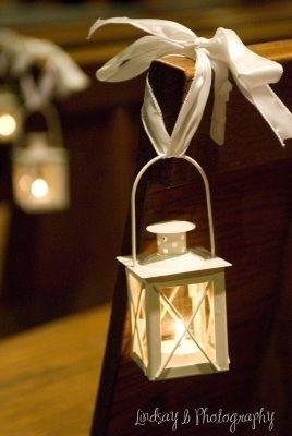 wedding pews lanterns