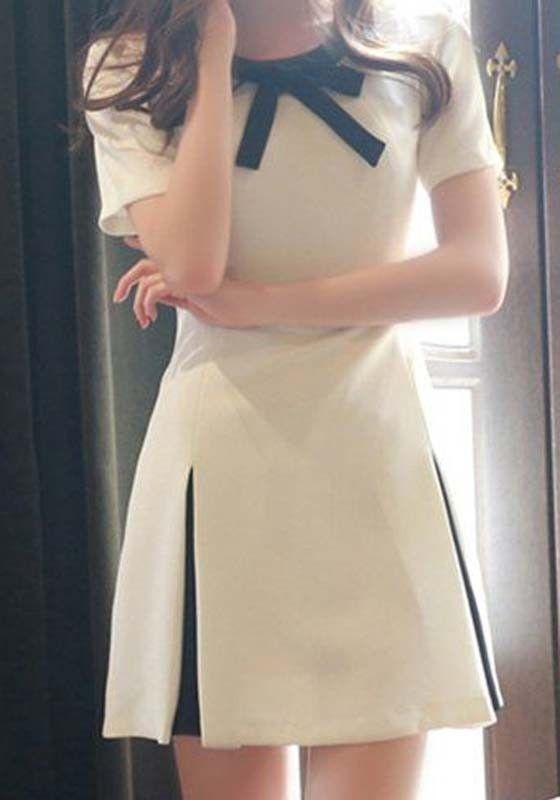 30498c4d342 White Patchwork Bow Tie Collar Pleated Short Sleeve Fashion Stylish Cute  A-line Midi Dress