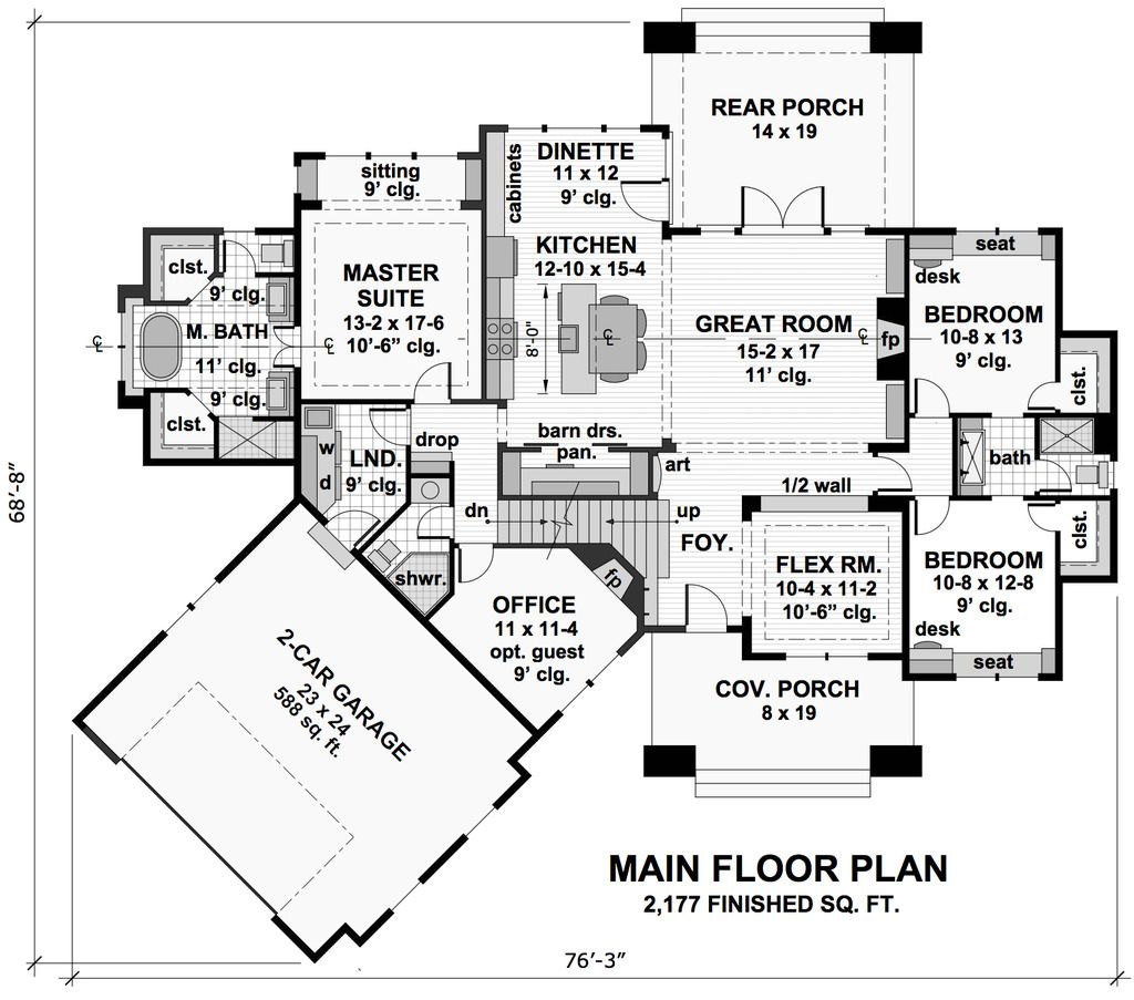 Craftsman style house plan 3 beds 3 baths 2177 sqft plan 51