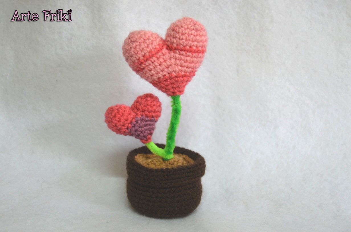planta corazon amigurumi patron crochet ganchillo heart plant ...