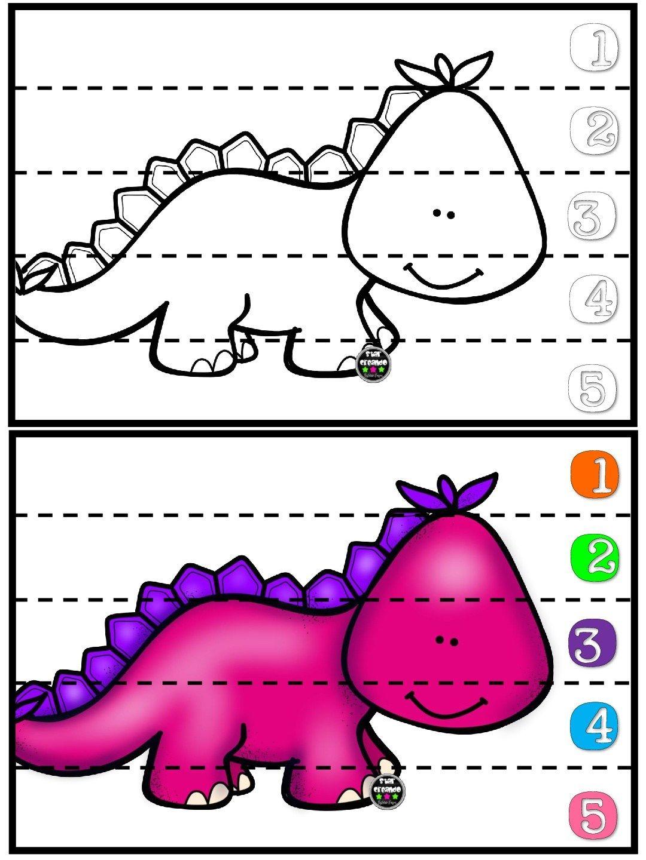Puzles De Dinosaurios Para Repasar Los Numeros 1