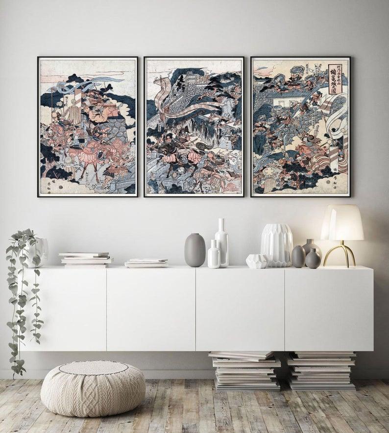 Imprimerie Japonaise De 3 Art Mural Japonais Art Mural Etsy Oriental Wall Art Japanese Wall Art Japanese Wall Decor