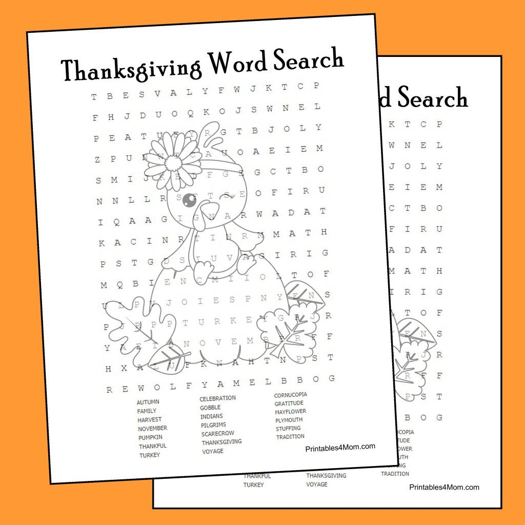 Thanksgiving Word Search Printable Printables4mom