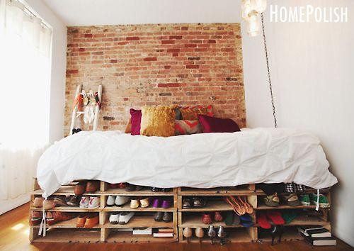 Pallet Bed 5 Shoe Storage Boho Style