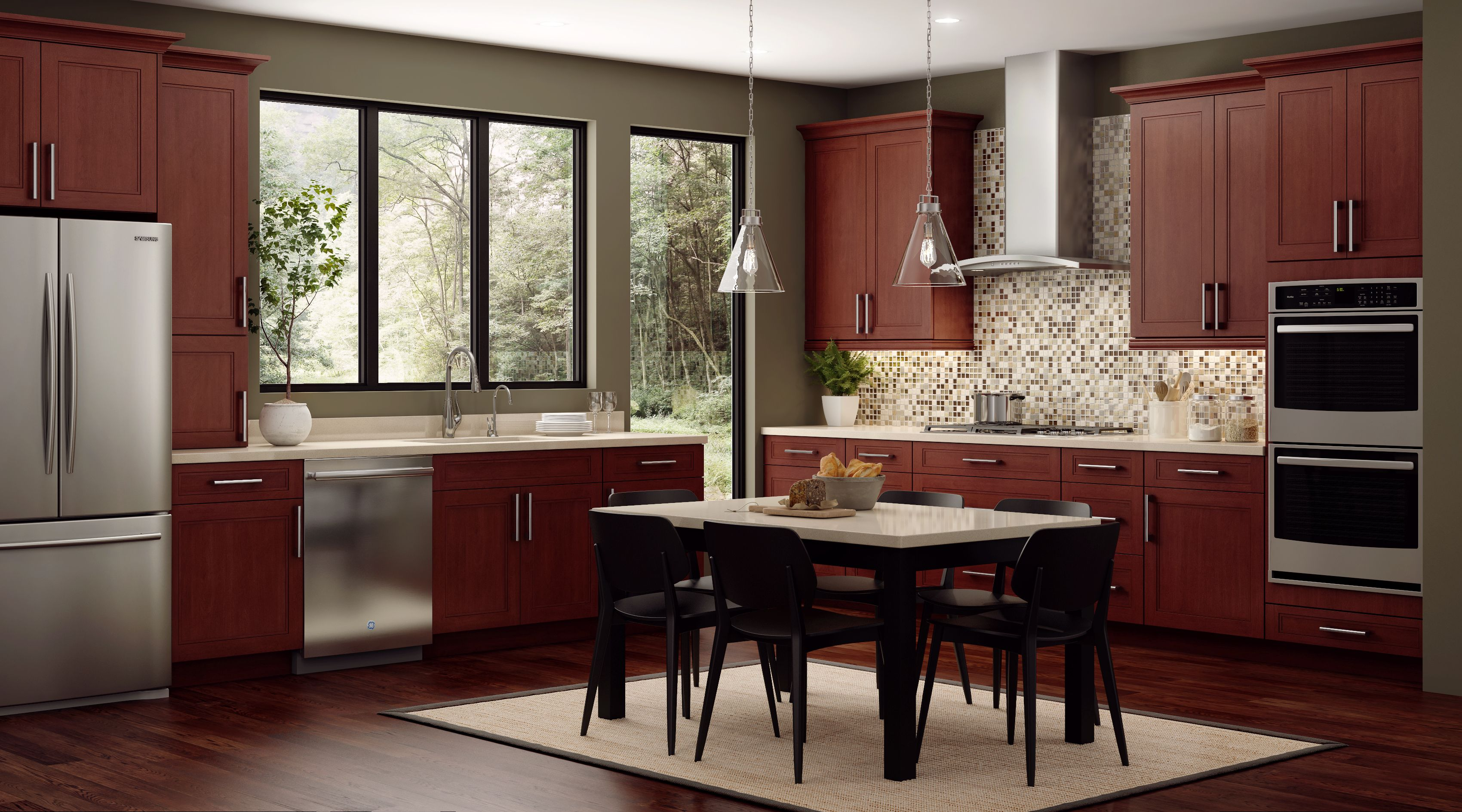Cnc Fashion Bordeaux This Full Overlay Shaker Inspired Birch Door Comes With A Beautiful Accent Molding Kitchen Cabinets Condo Kitchen Modern Kitchen Design
