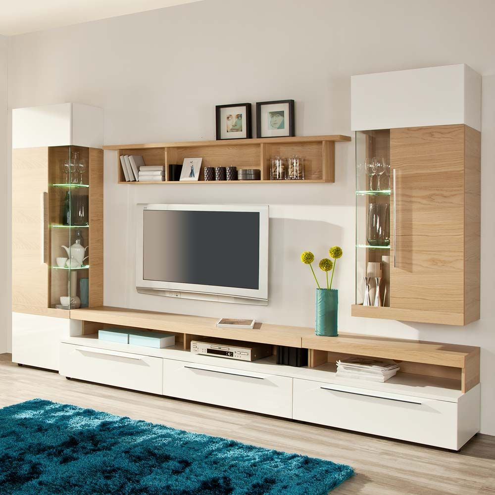Design Wohnwand in Weiß Hochglanz Eiche Bianco 330 cm 5 ...