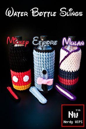 Water Bottle Slings crochet Mickey Mulan Eeyore - Sling strap not ...