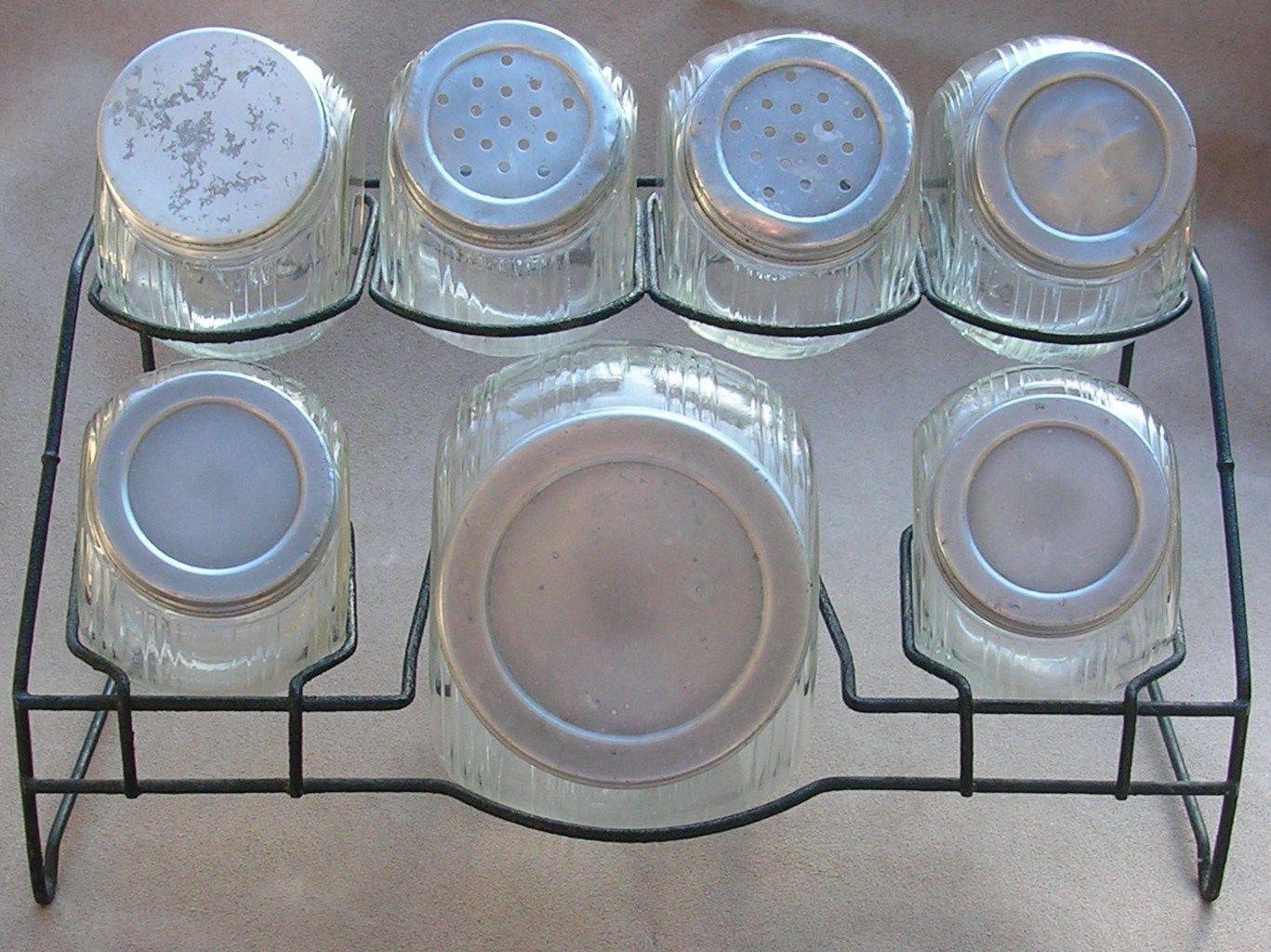 Vintage Sellers Hoosier Cabinet Oval Glass Spice Jar Canister Set ...