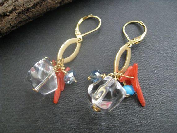 Coral Earrings  Bohemian Earrings Gemstone by DesignByPeiPei, $22.00