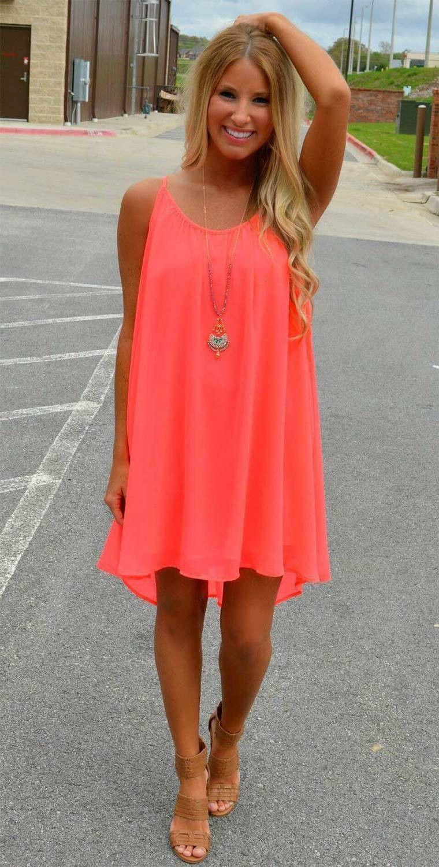 Neon beach chiffon dress sexy sleeve and scoop neck