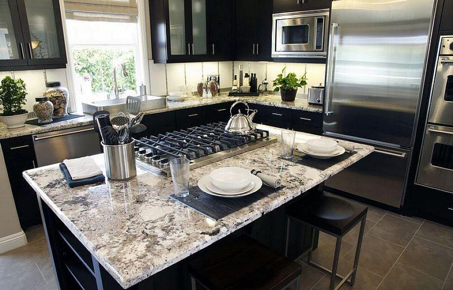 Kitchen White Spring Granite Countertops With Dark Kitchen Cabinets For Small Kitchen