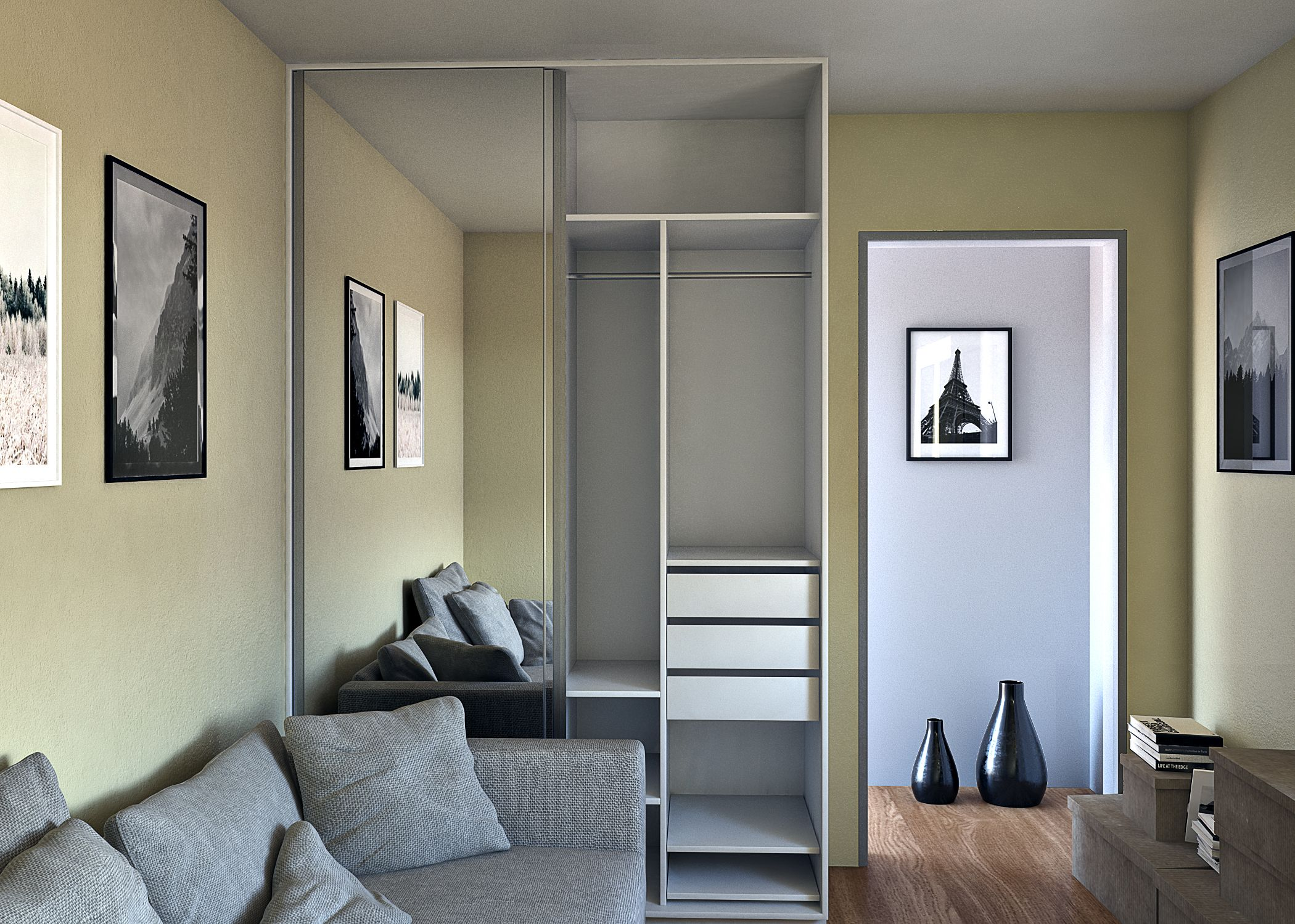 Closet en melamine con puertas corredizas de espejo for Hogar del mueble ingenio