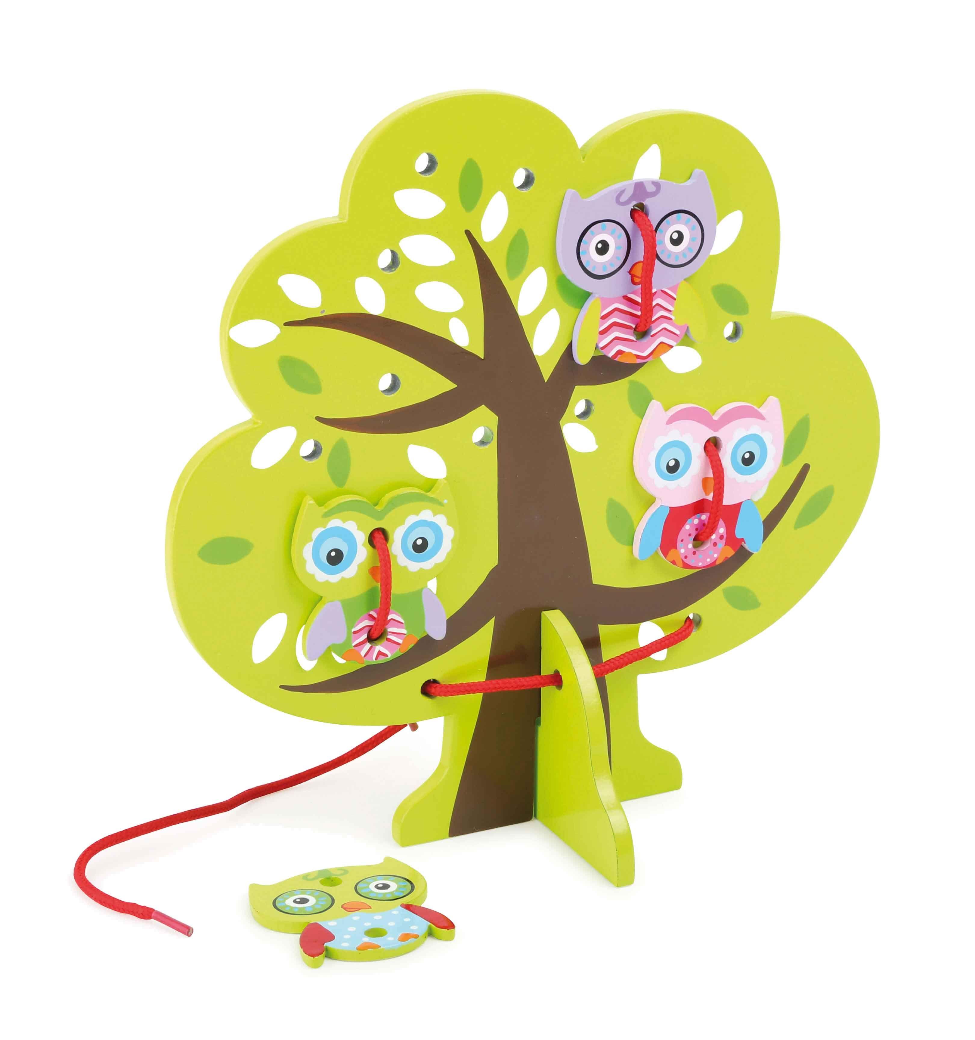 Threading games zijn erg populair en deze groene boom gemaakt van hout met een houten tribune is geen uitzondering. Vier kleurrijke uilen worden gehouden op de takken met een rode string. Een geweldig spel voor reizen om de tijd sneller te gaan.