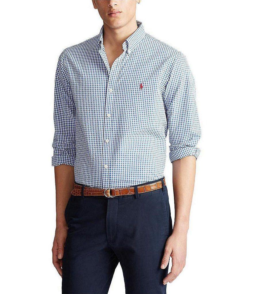 Polo Ralph Lauren Seersucker Gingham Long Sleeve Woven Shirt In