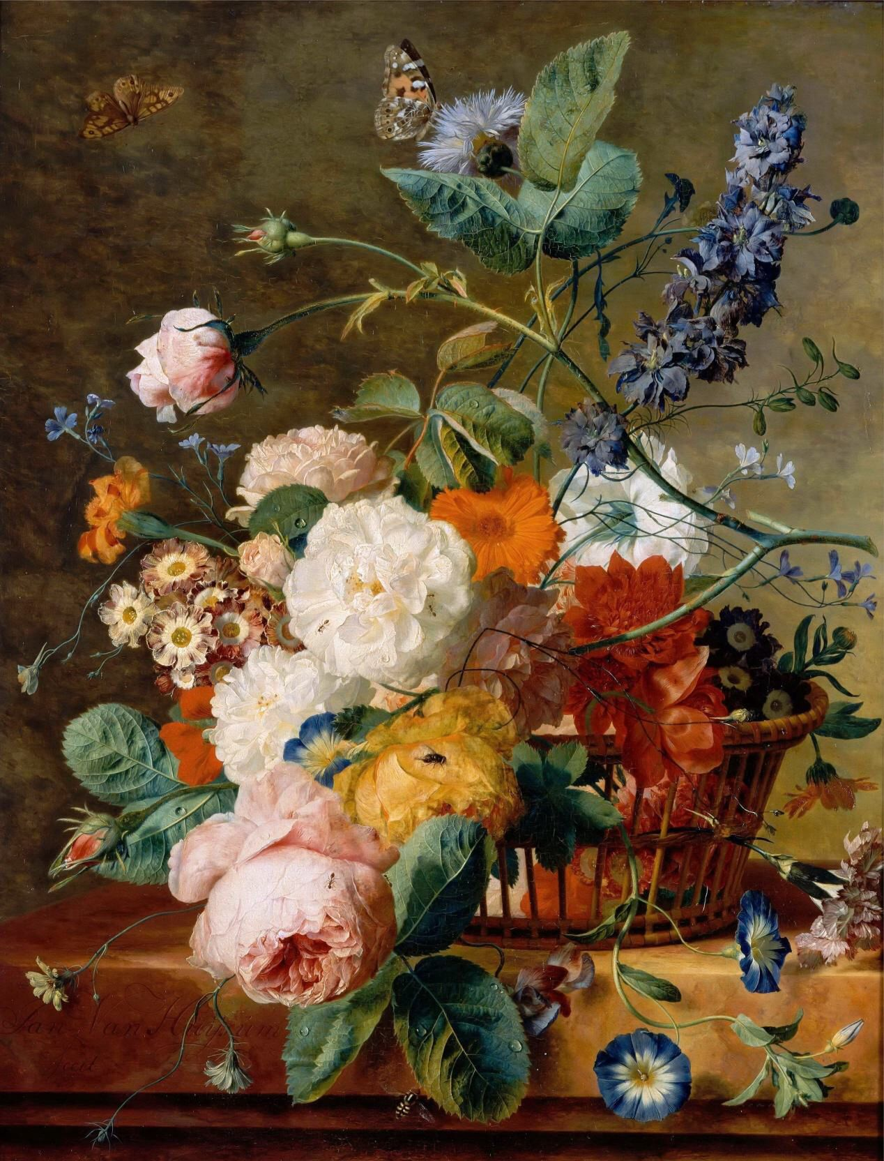 Jan Van Huysum - Basket of Flowers with Butterflies