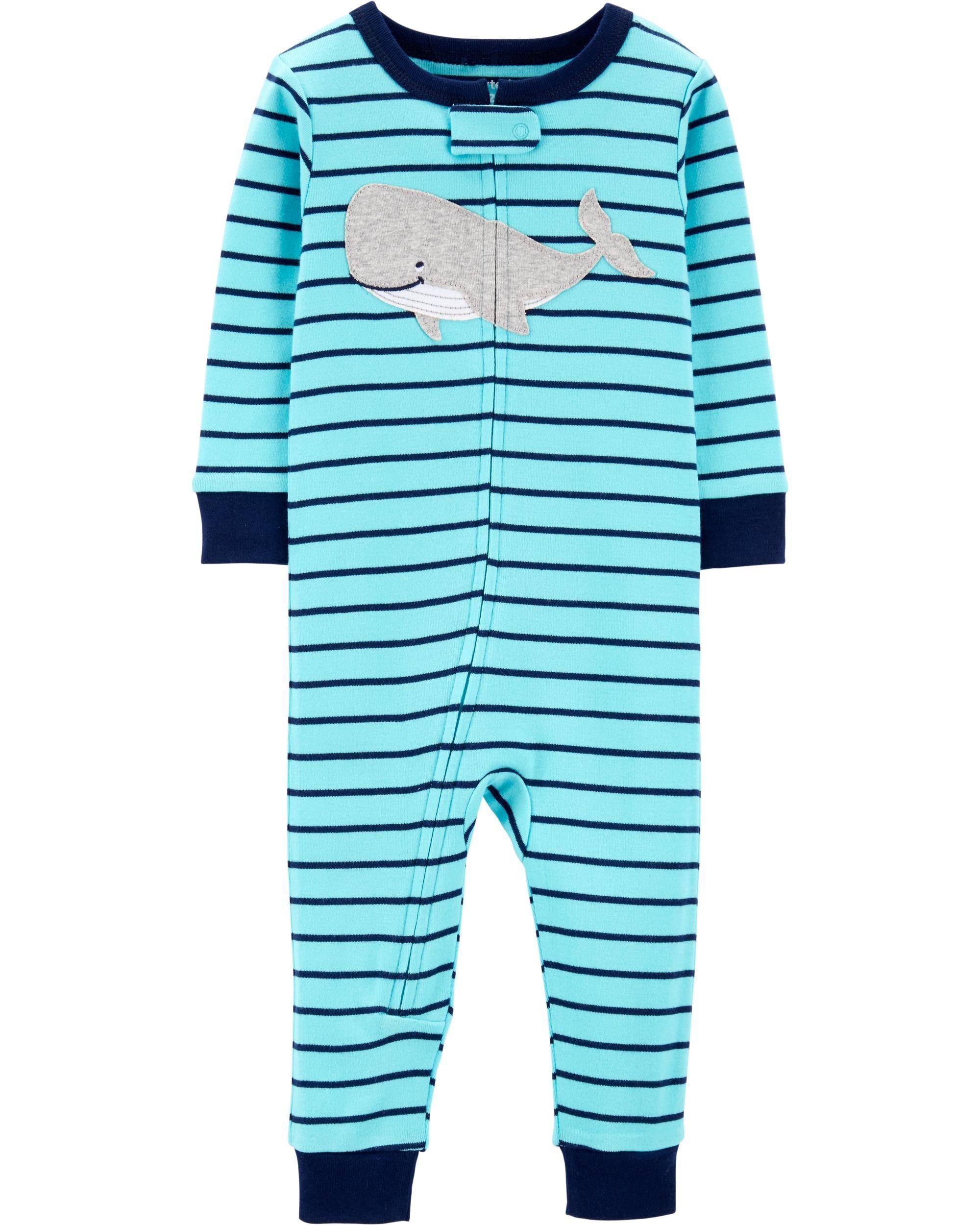 f52e9a9f47a1 1-Piece Whale Snug Fit Cotton Footless PJs