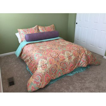 Guinevere Comforter Collection Orange And Aqua Design Ideas