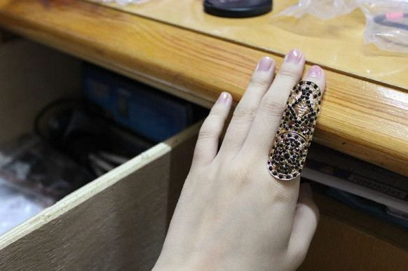 Black Rhinestone Studded Long Knuckle Ring wholesale