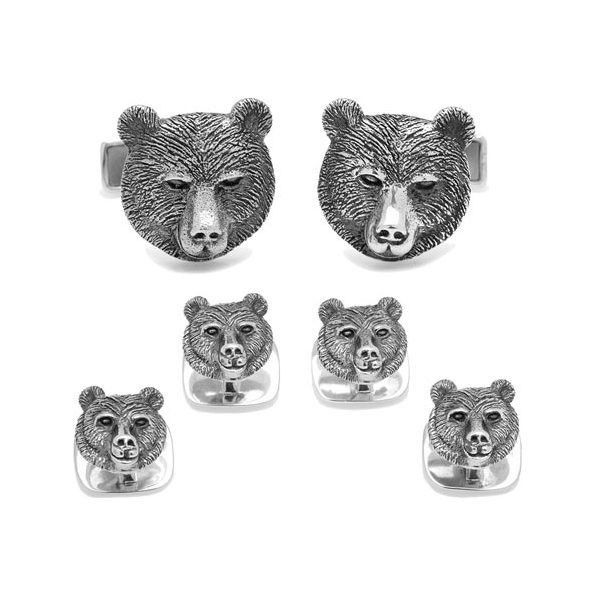 Men's Cufflinks Inc Sterling Bear Head Stud Set (1.255 NOK) ❤ liked on Polyvore featuring men's fashion, men's accessories, silver and stud earrings