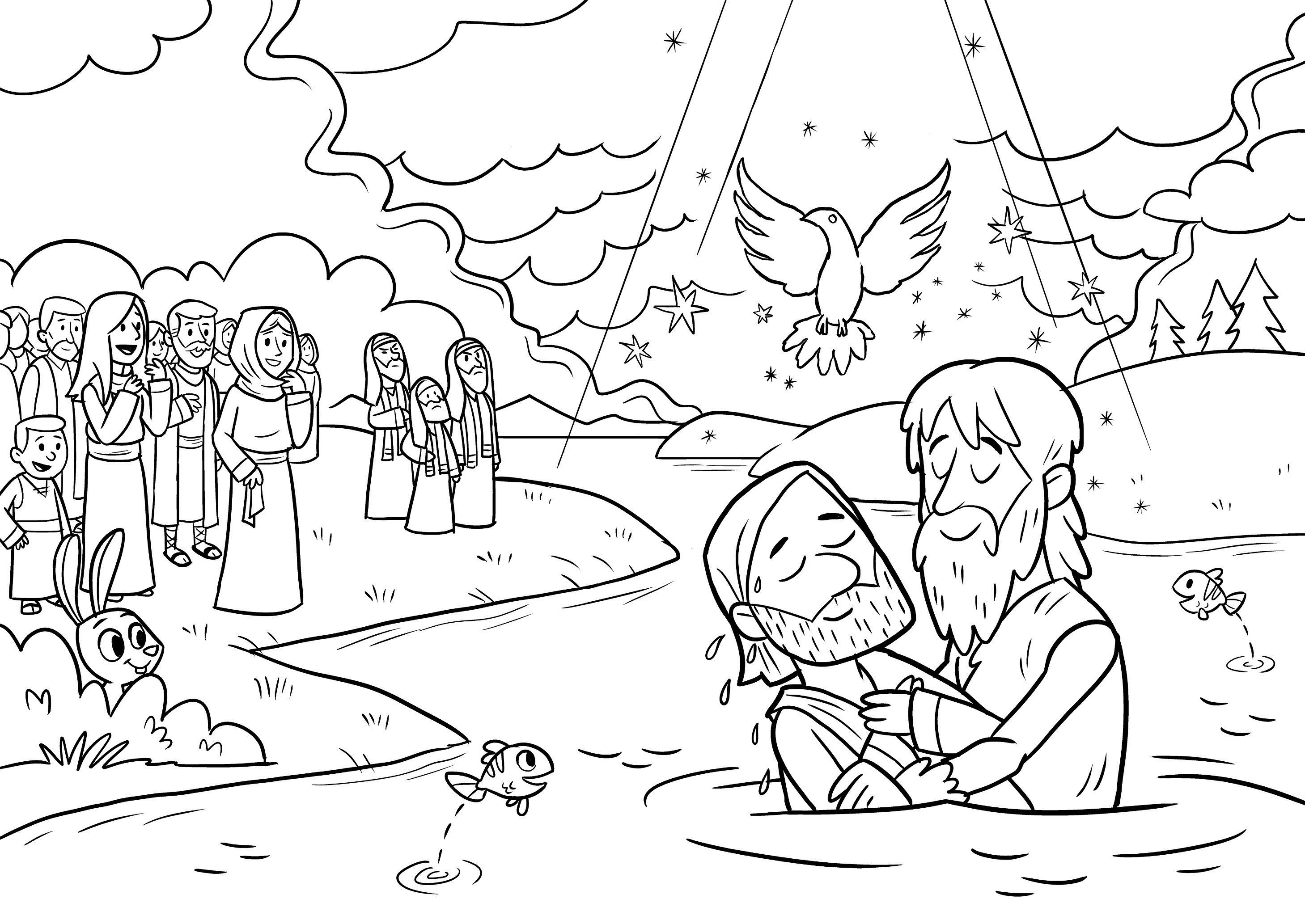 New Coloring Pages Jesus Baptism Free