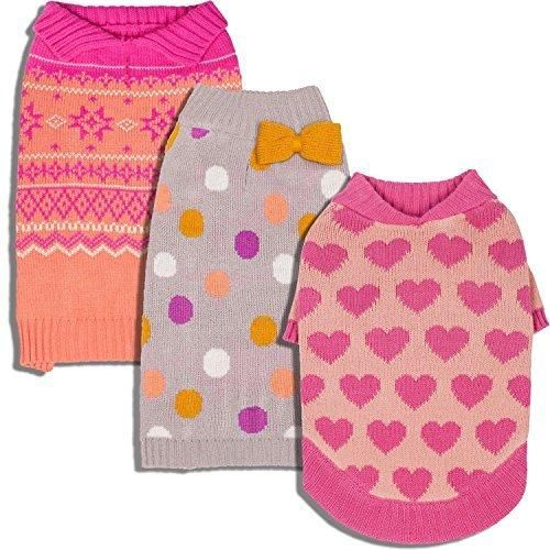 Blueberry Pet Pink Cardigan Style Dog Sweater with Fair Isle ...