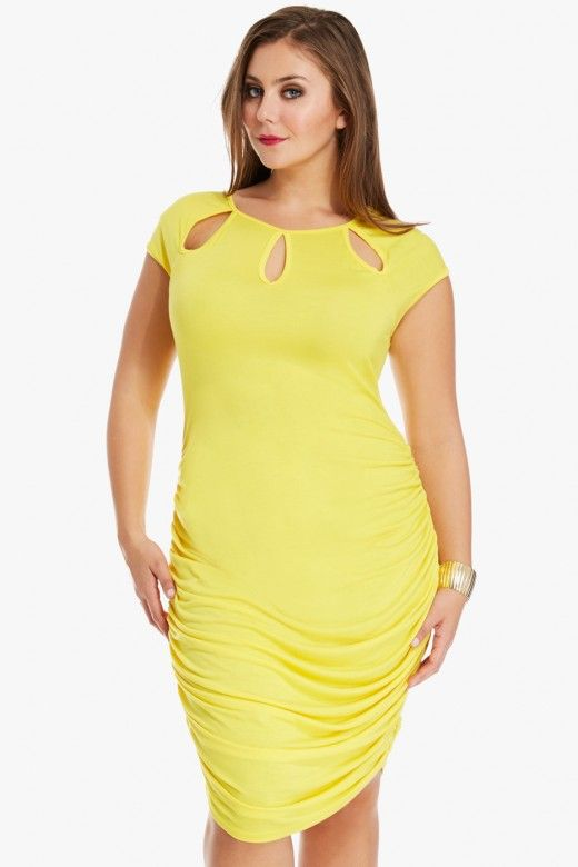 plus size cut out neck rucched side dress | fashion to figure