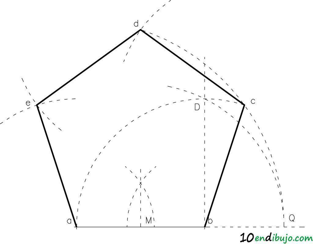 Pentagono Dado El Lado Polígono Regular Proyecciones Ortogonales Geometria Basica