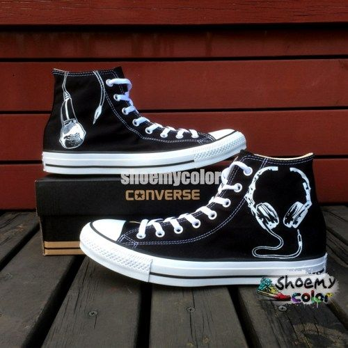 51b4a100e4451c Personalized Shoes Black Converse Earphone Hand Painted Canvas ...
