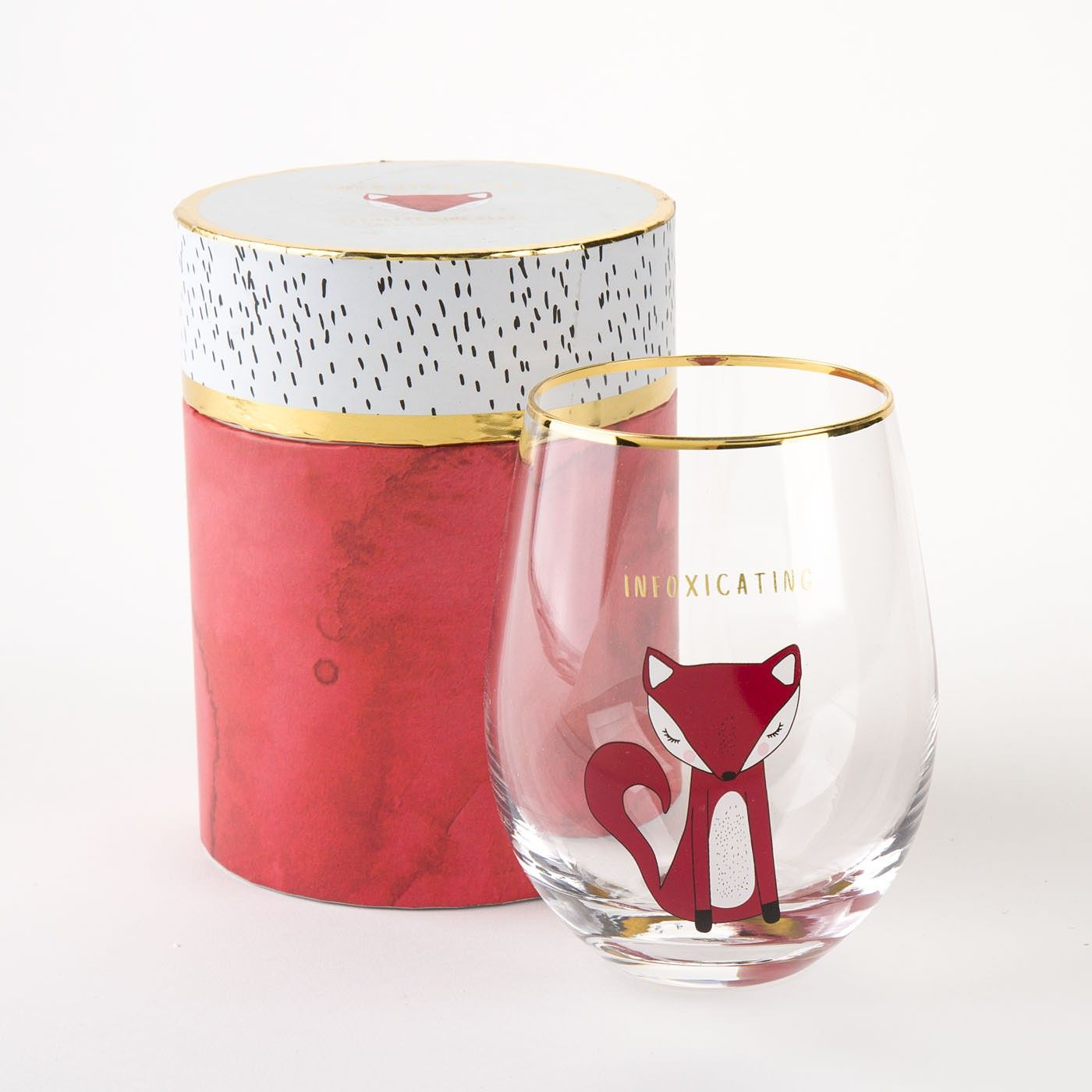 Someone Foxy Needs A Wine Glass To Match Their Style And They Will Surely To Love This Gift That Features A Blushing Fox Il Wine Glass Stemless Wine Glass Wine