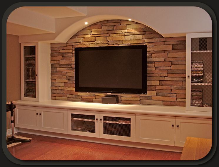 Nice Use Of Stack Stone TV Lighting And Built Ins Feels Like A Fireplace Wall