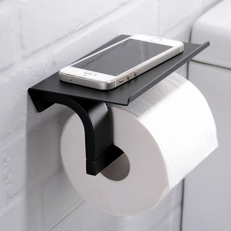 Porte de papier en cuivre noir avec porte-téléphone pour salle de bains