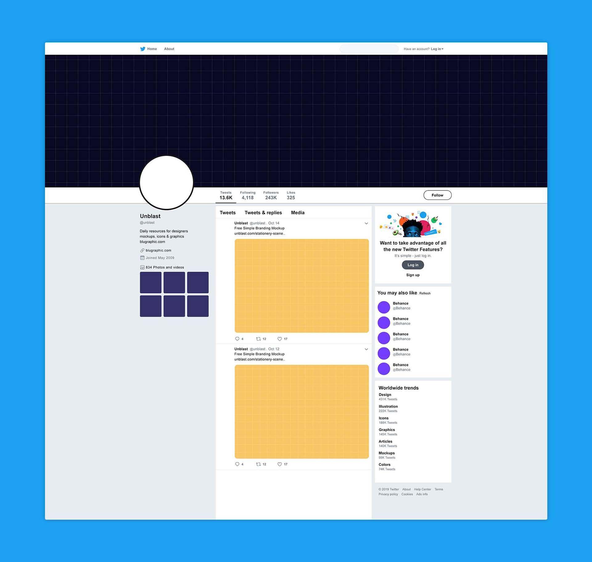 Free Twitter Page Mockup Branding Design Mockup Mockup Downloads