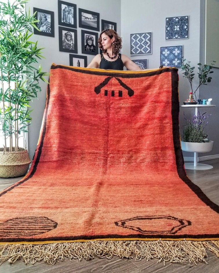 Vintage Moroccan Orange Red Rug Rug 5x8 Soft Vintage Rug Morocco Rug Area Rug Vintage Rug Handmade Carpet Tapis Marocain Berber Rug In 2020 Boujad Rug Bold Colors Vintage Moroccan