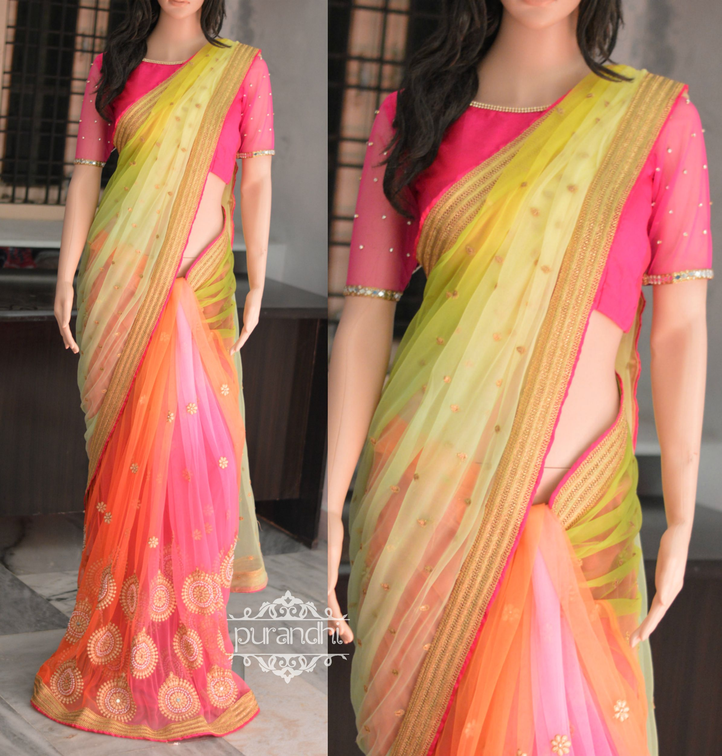 10ee49d3176606 Lemon Yellow , Green shaded Soft net half and half saree with pink stone  work blouse