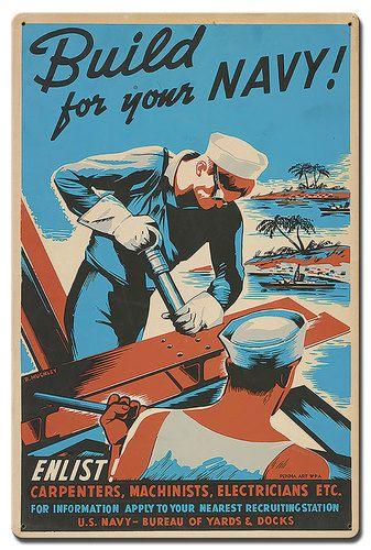 United States NAVY USA Recruiting World Vintage Retro Military Metal Sign 9x12