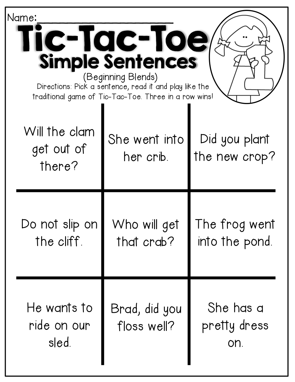 Tic Tac Toe With Simple Sentences Including Blends And Digraphs