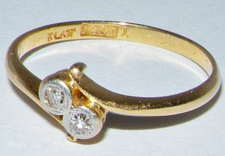 Early 20th century 2 stone platinum & 18ct gold diamond ring