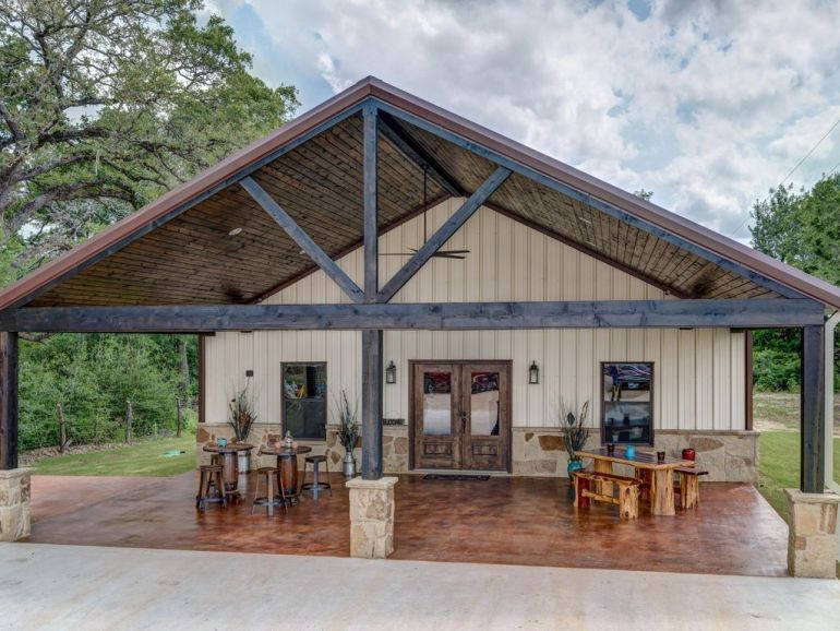 Covered Front Porch Area Of Barn House Cabin Ranch