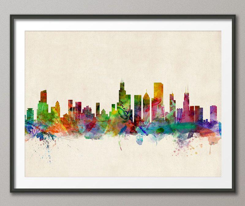 Bonito Chicago Horizonte Enmarcado Arte Imagen - Ideas ...