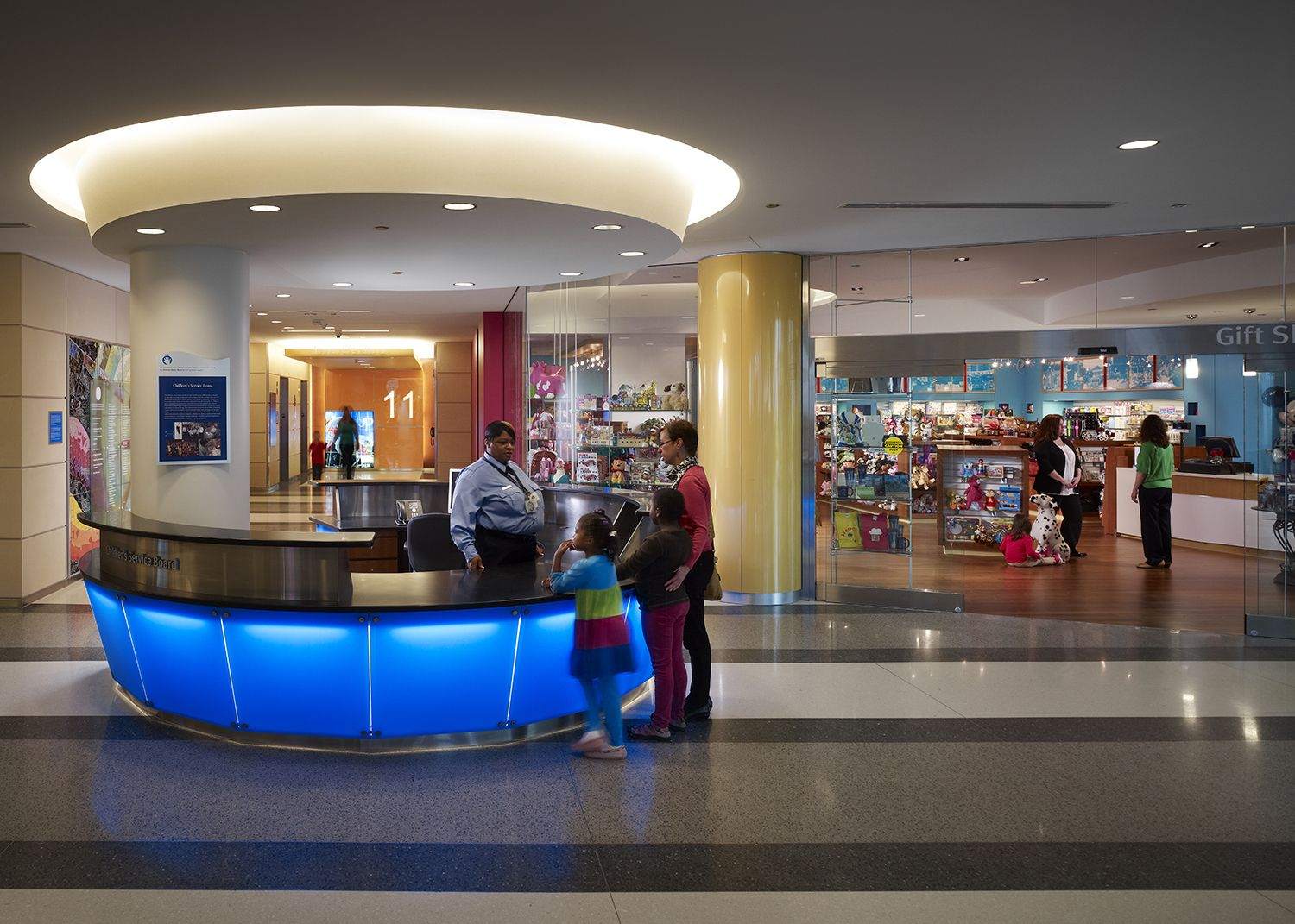 Concierge desk and gift shop at the new Lurie Children's http://tour.luriechildrens.org/