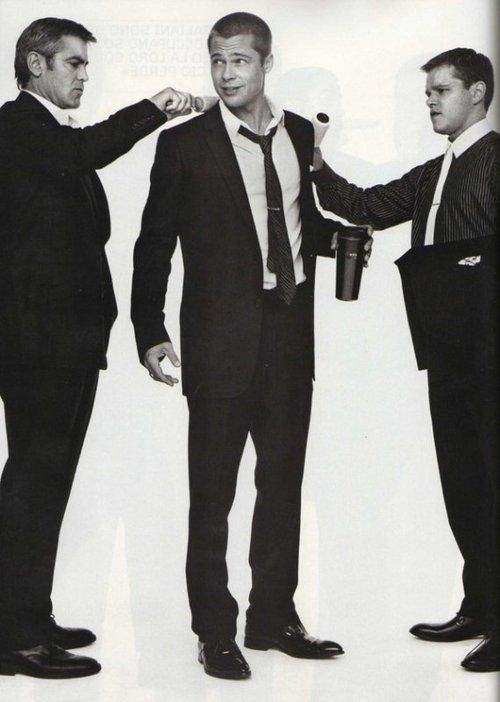 Clooney, Pitt and Damon in suits