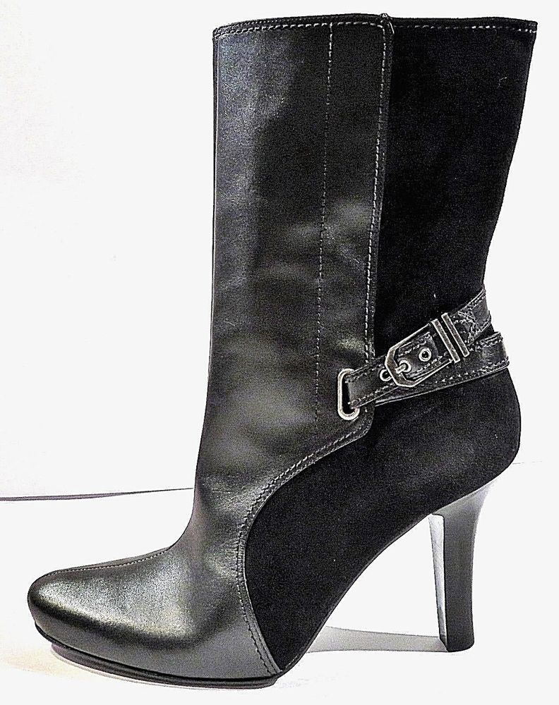 8804cf8666a Cole haan mid calf black leather & suede buckle accent high heels ...