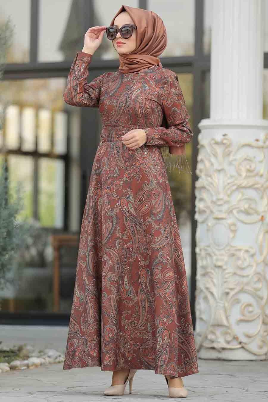 Neva Style Etnik Desenli Taba Tesettur Elbise 7591tb Tesetturisland Com Islami Giyim Elbise Elbise Modelleri