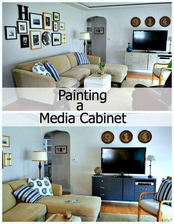 Painting a media cabinet @benjamin_moore Hale Navy. #paintingmedia #painting #media #medium #halenavybenjaminmoore