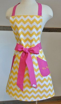 Yellow Chevron withHot Pink Trim Retro Adult Apron  by LizzysBiz