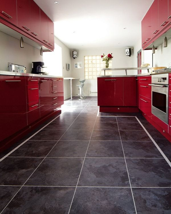 design flooring vinyl floor tiles kitchen red kitchen cabinets | Red ...
